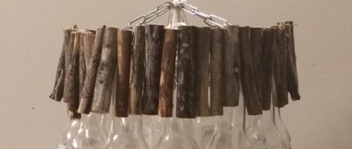 lustre Corona artisanal en verre et bois - abz design annecy