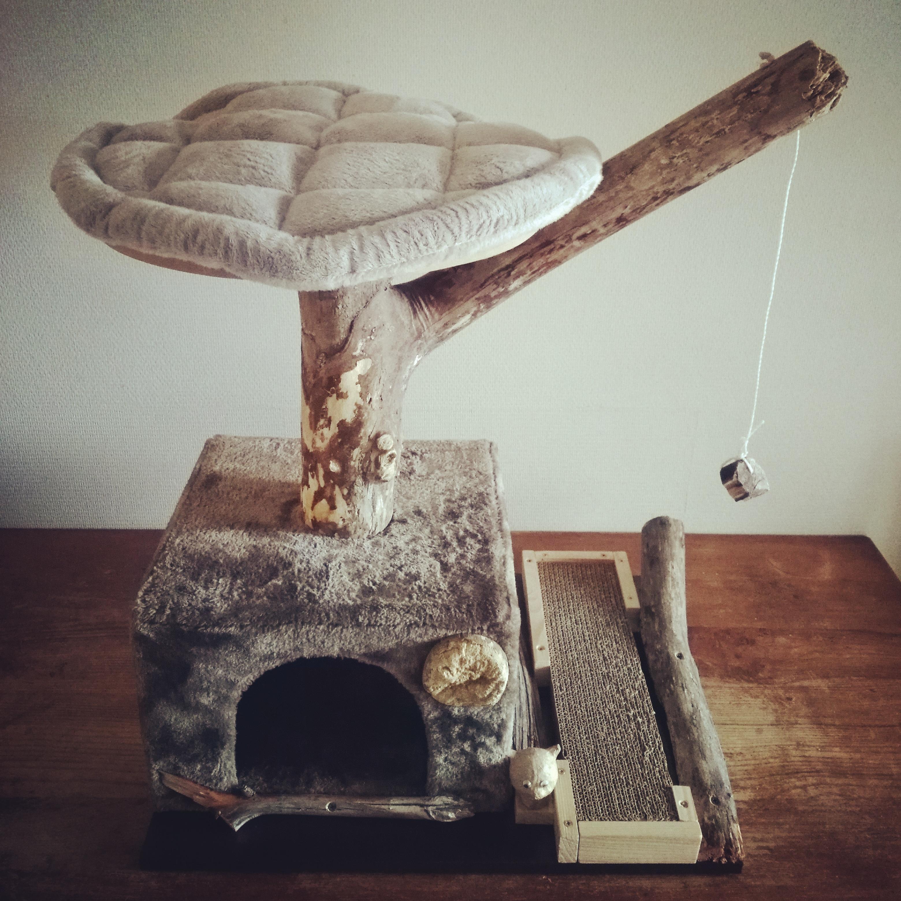 Arbre à chats en bois flotté
